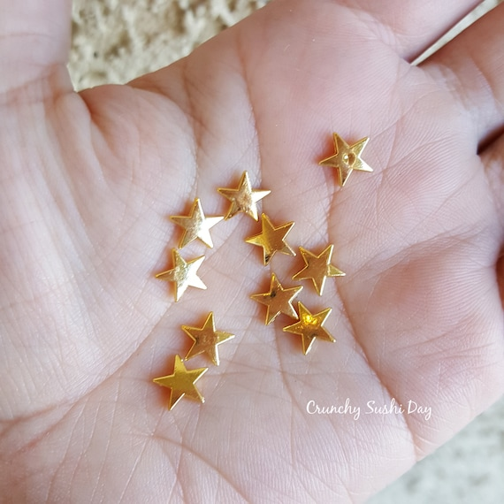 10pcs - 10mm Gold Star Metal Charms, Space Metal Charm, Decoden, Cabochon, Metal, Confetti, Confetti, Kawaii, Resin Embellishments