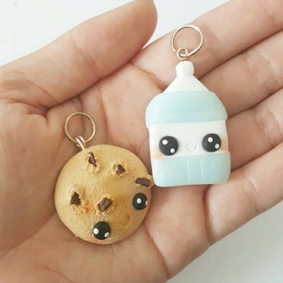 BFF Necklace Charms, Cookies and Milk Charm, Cookies, Milk, Polymer Clay Pendant, BFF, polymer clay, clay pendant, Kawaii, Chibi, Clay Charm