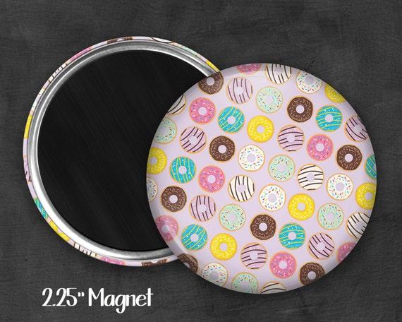 """2.25"""" Donut Magnet, Geek Magnet, Geekery, Magnet Button,  Kawaii Magnet, Refridgerator Magnet, Kawaii, Fairy Kei, Pastel Goth"""