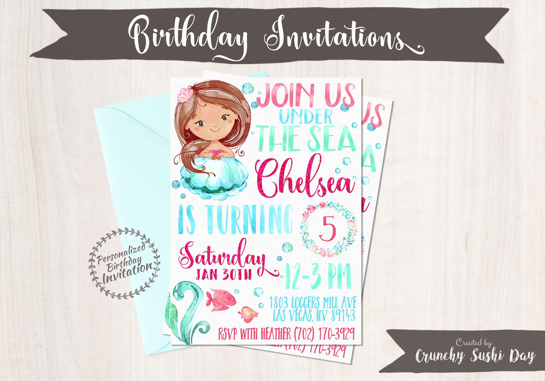 Mermaid Birthday Invitations, Mermaid Birthday Party, Customizable ...