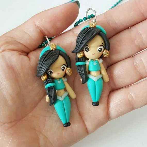 LIMITED EDITION Jasmine Necklace, Princess, Polymer Clay Pendant, Necklace, Cosplay, polymer clay, clay pendant, Kawaii, doll, charm