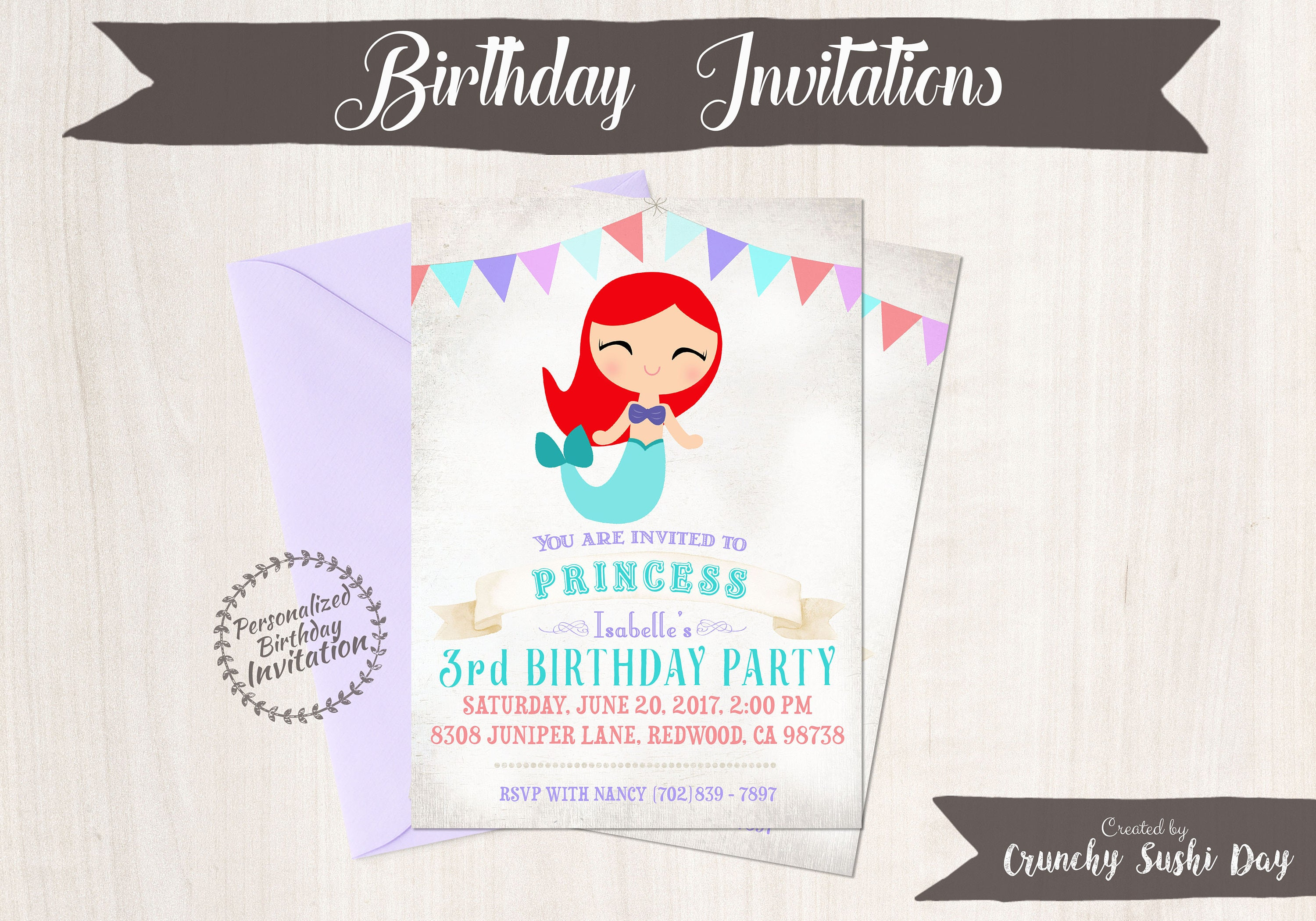 Princess Ariel Customizable Birthday Invitations Girl Printable Mermaid 053