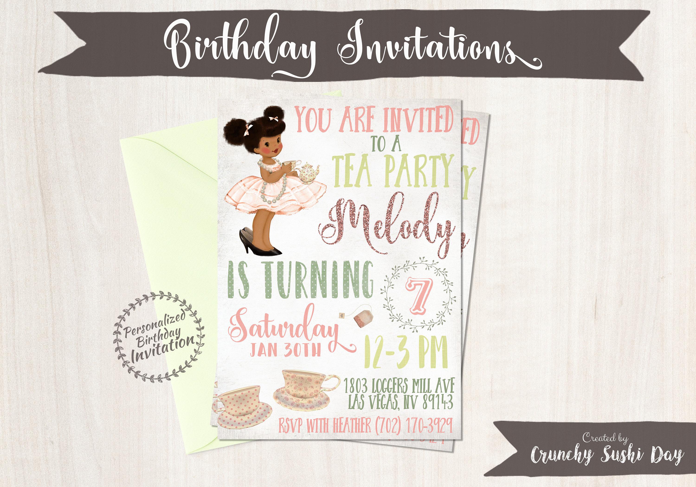 Vintage Tea Party Birthday Invitations, Cute Birthday, Girl Birthday ...