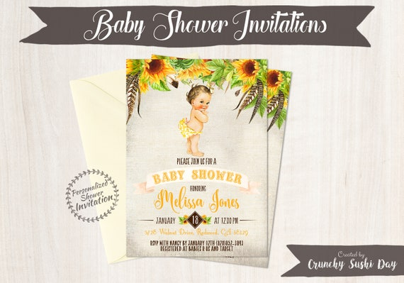 Sunflower Baby Shower Invitations, Vintage Baby Girl, Baby Shower Invitations, Printable Invitations, Baby Girl, Yellow, Floral 014