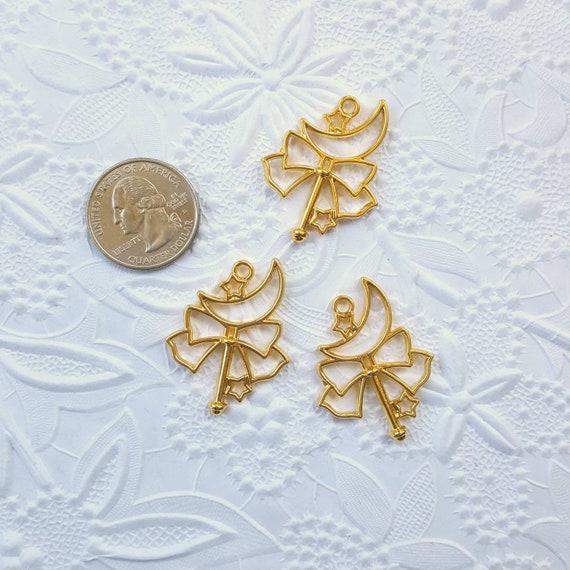 3 Qty - Moon Bow Wand Open Bezel Charm, Open Bezel Charm, UV Resin Bezel, Kawaii, Charm, Bezel, Resin, Epoxy