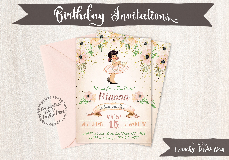 Vintage Tea Party Customizable Birthday Invitations Cute