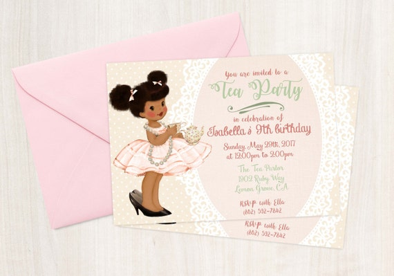 Vintage Tea Party Birthday Invitations, Cute Birthday, Girl Birthday Invitations, Tea Party, Printable Invitation, African American 045