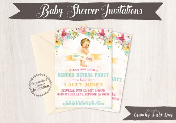 Vintage Gender Reveal Baby Shower Invitations, Baby Shower Card, Printable Invitations, Boy or Girl, Pink or Blue, Teal, Pink, Floral 001