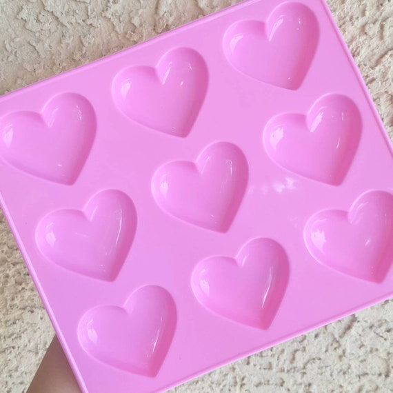 9 Cavity Shiny Heart Mold, Heart Resin Mold, Silicone Heart Mold, Epoxy, Charm Mold, Kawaii, Resin Mold, Puffy Heart Mold, UV Resin Mold