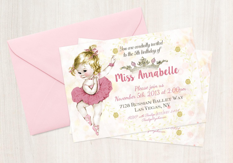 Vintage Ballet Customizable Birthday Invitations, Customize, Girl ...