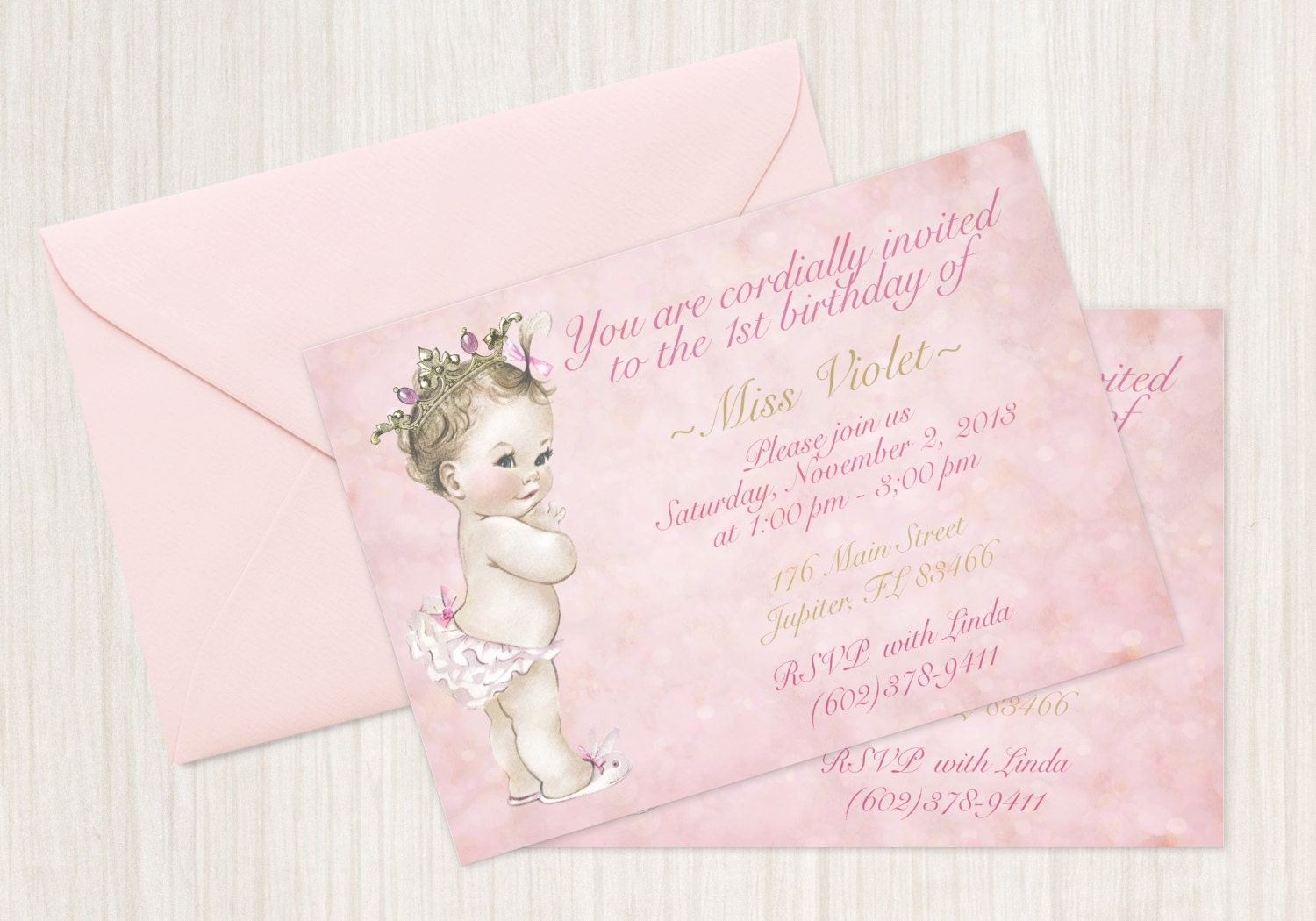 Vintage Baby Girl Customizable Birthday Invitations Customize
