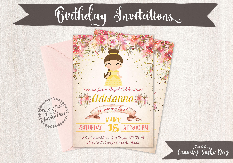 Princess Belle Customizable Birthday Invitations, Princess, Girl ...