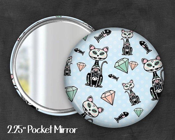 "2.25"" Skeleton Kitty Pocket Mirror, Geek Pocket Mirror, Geekery, Mirror Button, Kawaii Mirror, Pocket Mirror, Kawaii, Fairy Kei, Pastel Goth"