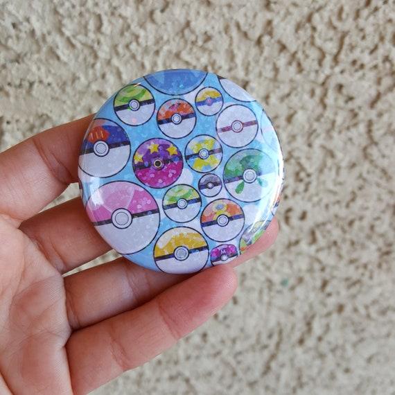 """2.25"""" Pokeball Pinback Button, Geek Button, Geekery, Button, Kawaii Button, Badges, Flare, Fanart, Fandom, Pin"""