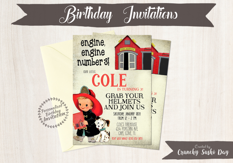 Vintage Fireman Customizable Birthday Invitations, Boy Birthday ...