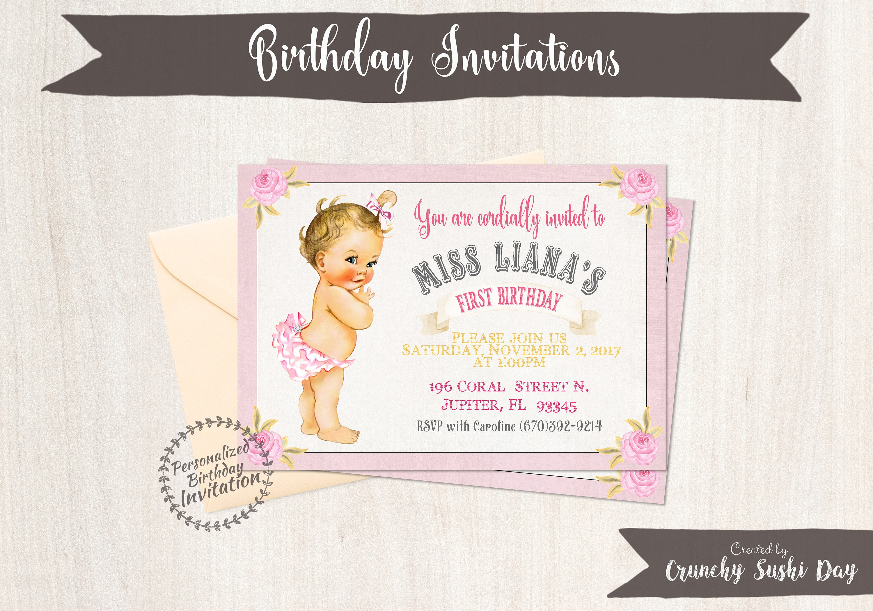 Baby Girl First Birthday Party Invitations, Pink Rose, Party, Girl ...