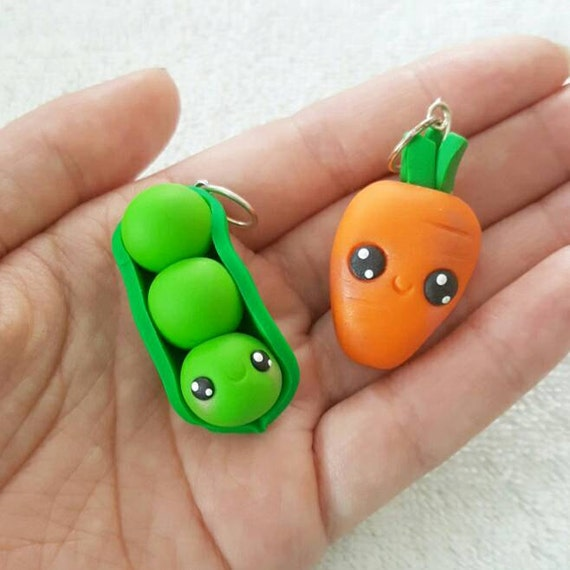 BFF Necklace Charms, Peas and Carrots Charm, Carrots, Peas, Polymer Clay Pendant, BFF, polymer clay, clay pendant, Kawaii, Chibi, Clay Charm