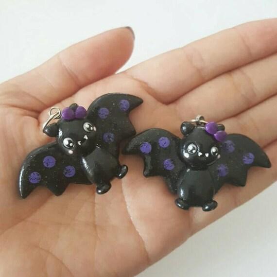 Halloween Bat Polymer Clay Pendant, Purple, Polymer Clay Bat, Bat Charm, polymer clay, clay pendant, Kawaii, Chibi, Bat