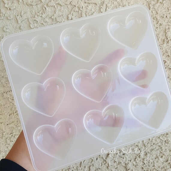 Clear 9 Cavity Shiny Heart Mold, Puffy Heart Mold, Silicone Heart Mold, Epoxy, Charm Mold, Kawaii, Resin Mold, Puffy Heart Mold, Resin Mold