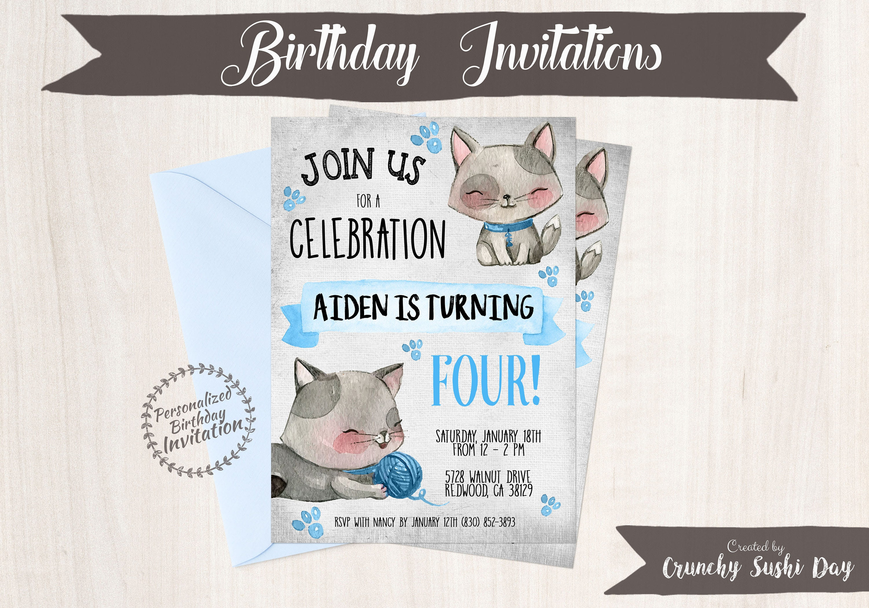 Kitty Customizable Birthday Invitations, Boy Birthday Invitations ...