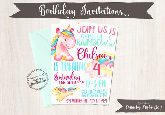 Unicorn Birthday Invitations, Unicorn Birthday Party, Customizable, Pony, Girl Birthday, Printable Invitations, Pink, Teal, Magical 067