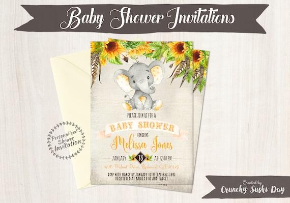 Sunflower Elephant Baby Shower Invitations, Printable Invitations, Fall Baby Shower, Elephant, Yellow, Floral, Sunflowers, Nursery, 015