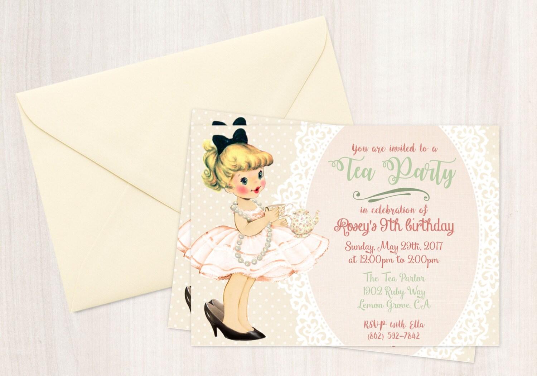 Vintage Tea Party Customizable Birthday Invitations, Cute Birthday ...