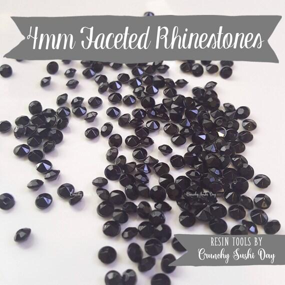 200 PCS- 4mm Black Clear Acrylic Diamond Rhinestones, Rhinestone, Acrylic Rhinestones, Loose Rhinestones, Diamond Confetti, Confetti