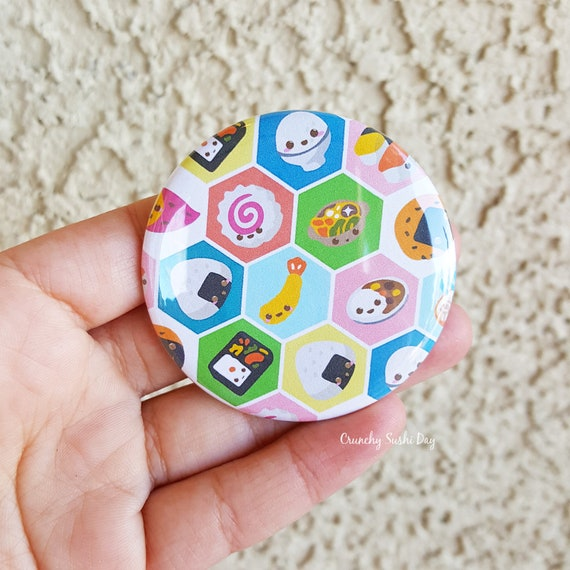 "2.25"" Sushi Pinback Button, Geek Button, Geekery, Button, Kawaii Button, Badges, Flare, Pin, Kawaii, Fairy Kei, Pastel Goth"