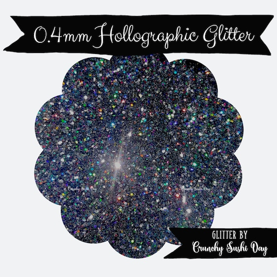 15 grams- 0.4mm Black Ultra Fine Glitter, High Quality Holographic Glitter, Glitter, Glitter Confetti, Confetti, Kawaii, Resin Glitter