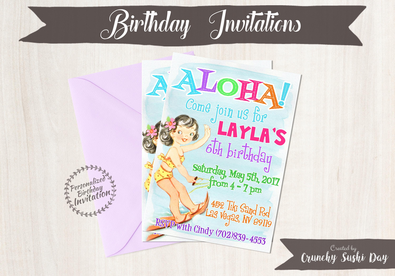 Vintage Aloha Luau Customizable Birthday Invitations Customize Girl