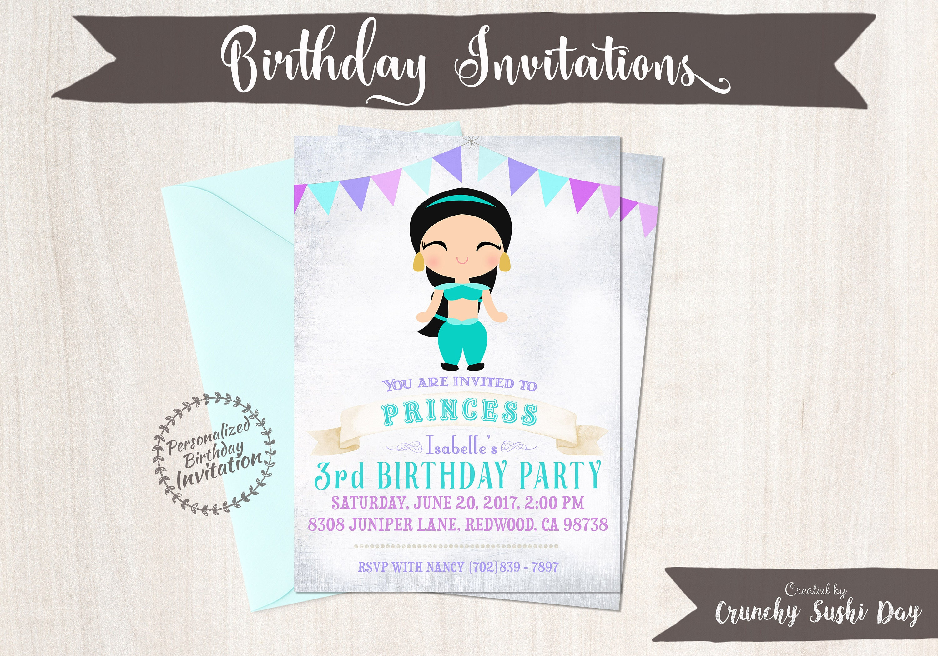 Princess Jasmine Customizable Birthday Invitations Girl Printable 058