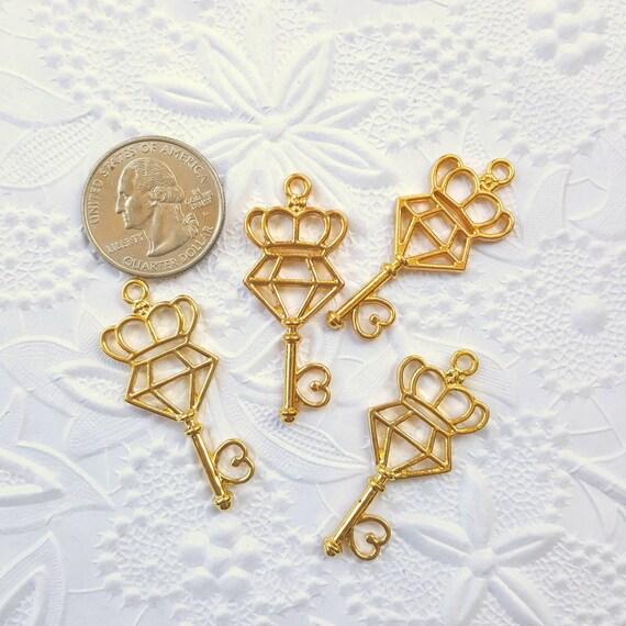 3 Qty - Diamond Crown Key Open Bezel Charm, Open Bezel Charm, UV Resin Bezel, Kawaii, Charm, Bezel, Resin, Epoxy