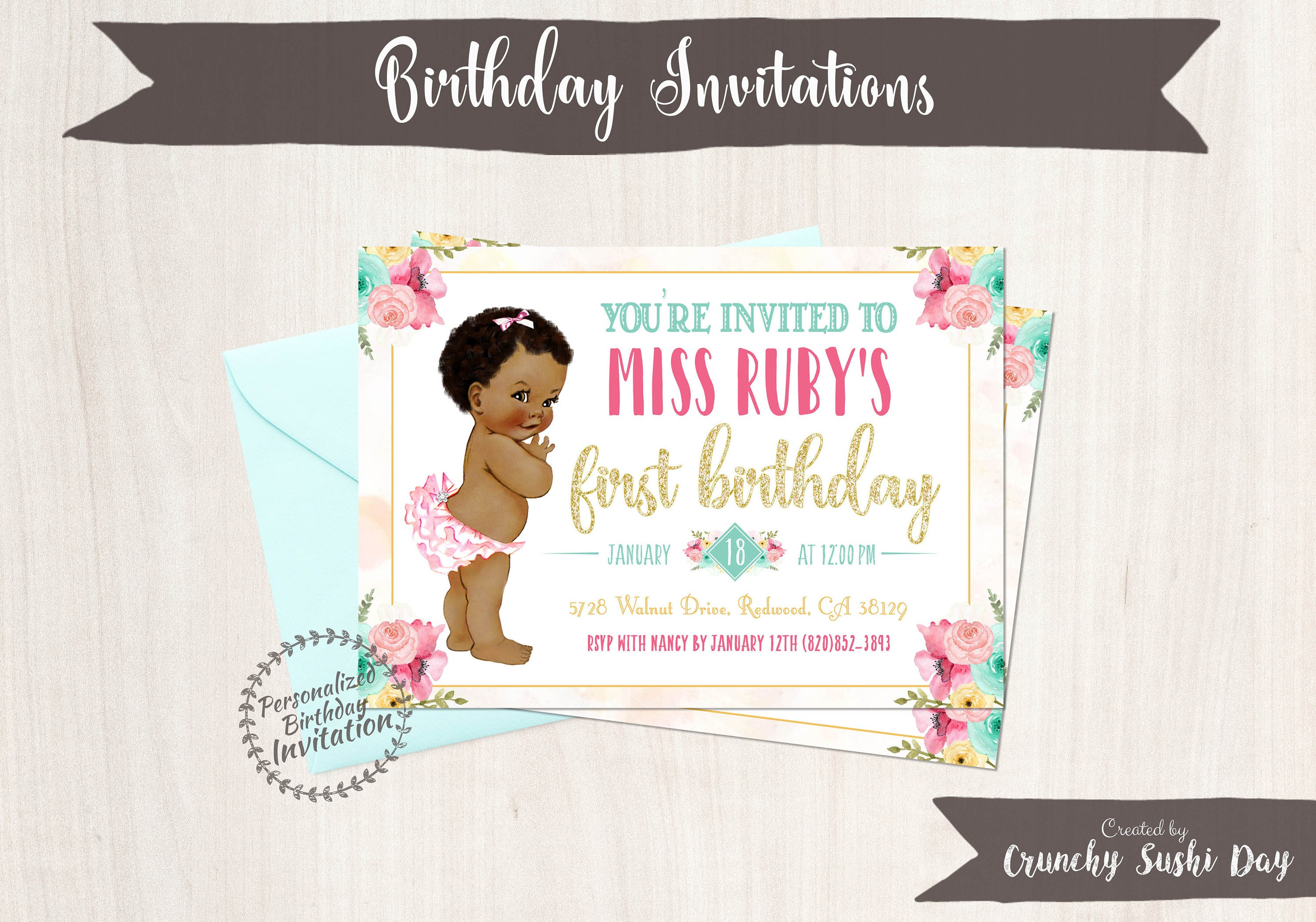 Vintage Baby Girl First Birthday Invitations, African, Black, Girl ...
