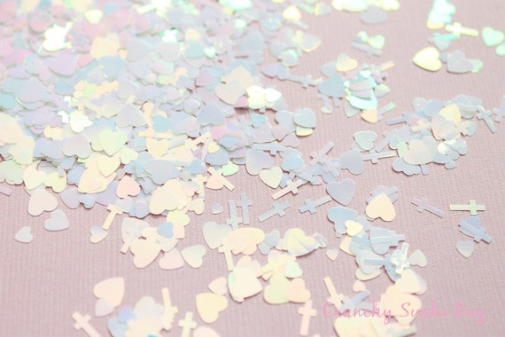 5 grams - 3-6mm  White Assorted Goth Glitter, Pastel Glitter, Glitter, Glitter Confetti, Confetti, Kawaii, Resin Glitter, Crosses and Heart