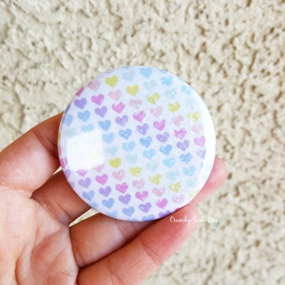 "2.25"" Rainbow Heart Pinback Button, Geek Button, Geekery, Button, Kawaii Button, Badges, Flare, Fairy Kei, Lolita, Pastel Goth"