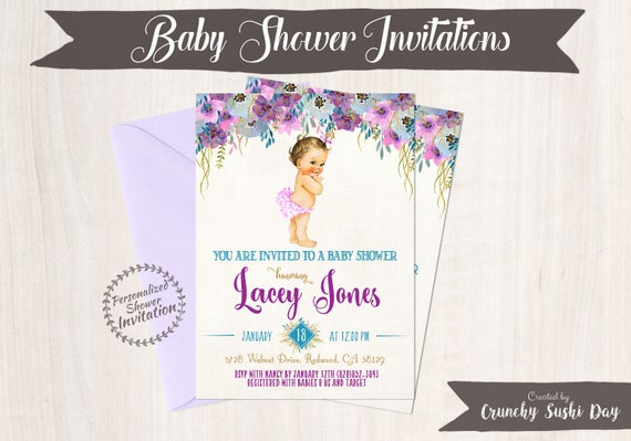 Vintage Baby Girl Baby Shower Invitations, Baby Shower Invitations, Printable Invitations, Baby Girl, Blonde, Teal, Purple, Floral 019