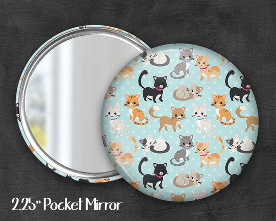 "2.25"" Cat Pocket Mirror, Geek Pocket Mirror, Geekery, Mirror Button, Kawaii Mirror, Pocket Mirror, Kawaii, Fairy Kei, Pastel Goth"