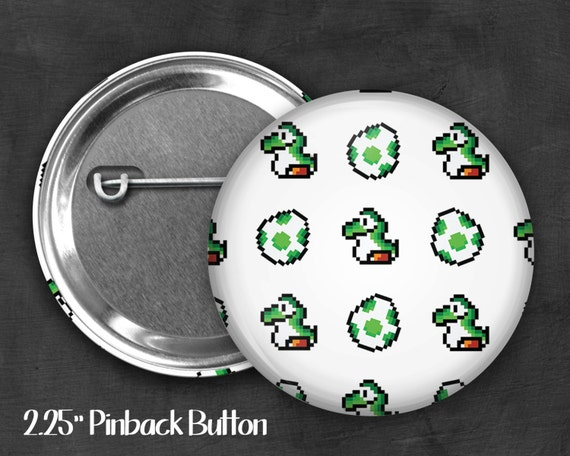 "Fandom 2.25"" Yoshi Pinback Button, Geek Button, Geekery, Button, Kawaii Button, Badges, Flare"