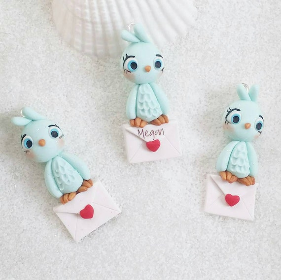 Kawaii Love Birds, Valentine's, Necklace, Polymer Clay Charm, Polymer Clay Pendant, polymer clay, clay pendant, Kawaii, Chibi, Clay Charm