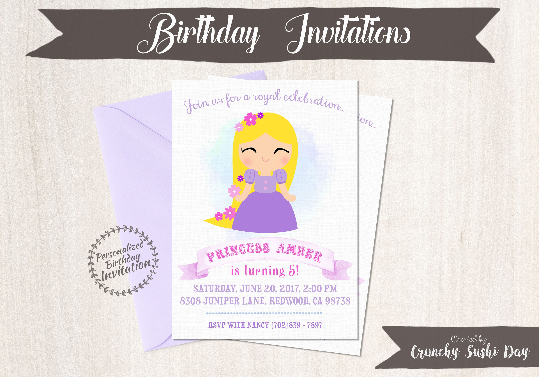 Princess Rapunzel Customizable Birthday Invitations, Princess, Girl ...