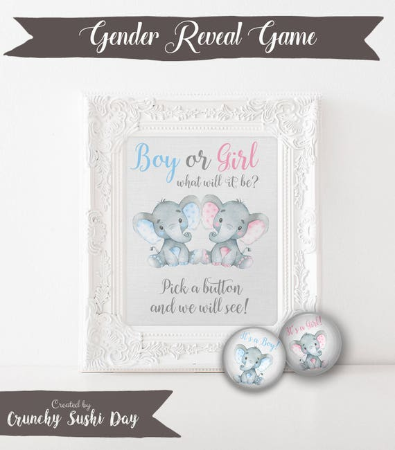 """Gender Reveal Baby Shower Buttons, Baby Shower Game, Printable, Boy or Girl, Pink or Blue, Elephant, Pinback, Buttons, 1.25"""" button 012"""