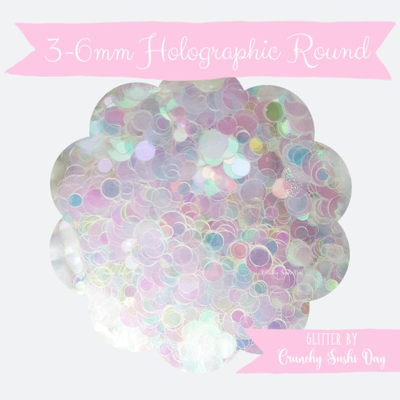 5 grams - 3-6mm Holographic Round Glitter, Iridescent, Glitter, Pink, Purple, Blue, Glitter Confetti, Confetti, Kawaii, Resin Glitter