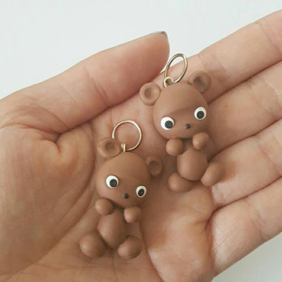 Cute Kawaii Grizzly Bear Polymer Clay Charm, Bear Clay Pendant, Brown Bear, Charm, polymer clay, clay pendant, Kawaii, Chibi, Clay Charm