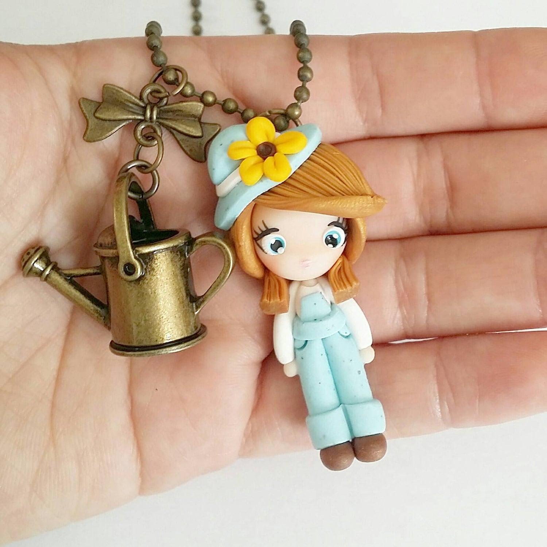 kawaii garden girl, necklace, polymer clay charm, polymer clay
