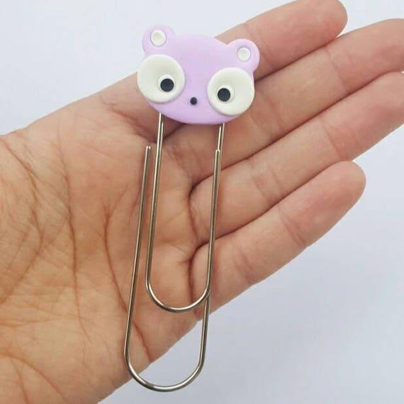 Kawaii Panda Bear Bookmark Clip, Bookmarker, Planner Accessory, Polymer Clay Charm, Polymer Clay, Fairy Kei, Kawaii, Chibi, Clay Charm