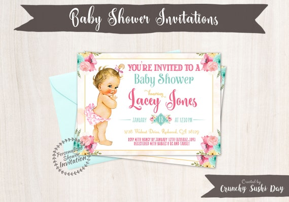 Vintage Baby Girl Baby Shower Invitations, Baby Shower Invitations, Printable Invitations, Baby Girl, Blonde, Teal, Pink, Floral 001