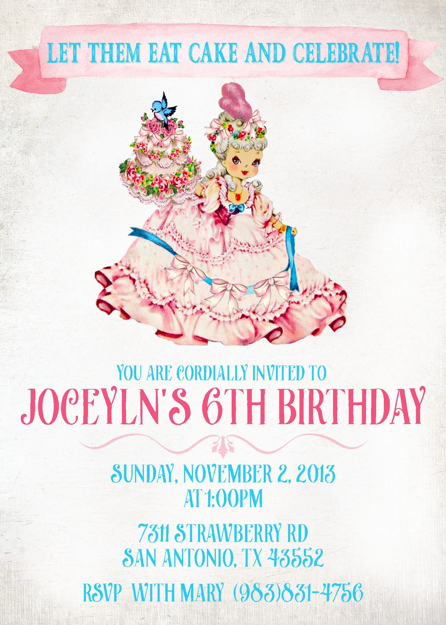 Vintage Marie Antoinette Customizable Birthday Invitations Let Them Eat Cake Girl Printable 048