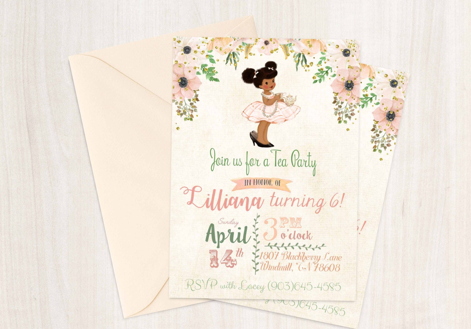 Vintage Tea Party Birthday Invitations, Cute Birthday, Girl Birthday ...
