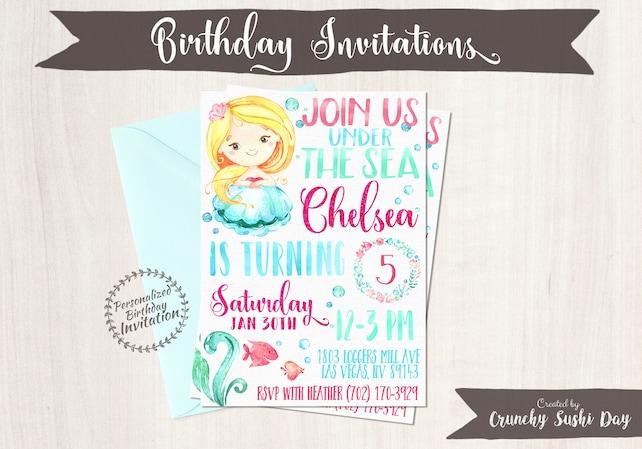 Mermaid Birthday Invitations Mermaid Birthday Party Customizable